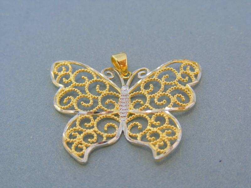 MARM Design Zlatý prívesok motýlik žlté biele zlato DI272V