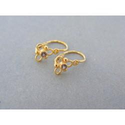 Zlaté detské náušnice jemné žlté zlato kamienok DA079Z