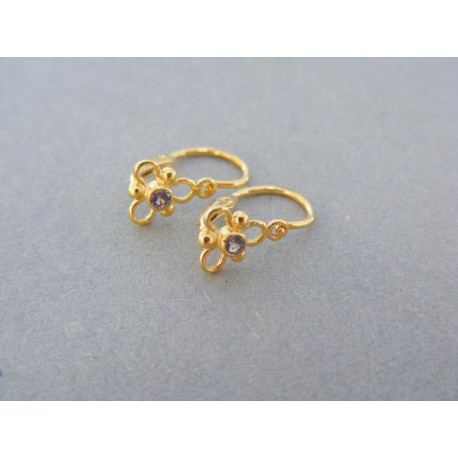 Jemné detské náušnice žlté zlato kamienok