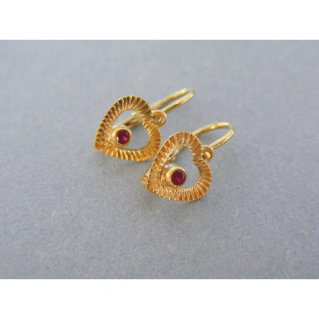 Náušnice vzorované srdiečka kamienok žlté zlato