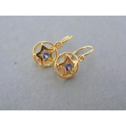 Zlaté detské náušnice okrúhle s hviezdou a zirkónom žlté zlato DA117Z