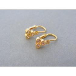 Zlaté detské náušnice jemné žlté zlato malé kamienky DA112Z
