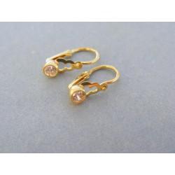 Zlaté detské náušnice jednoduché žlté zlato kameň DA104Z