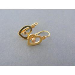 Zlaté náušnice srdiečka žlté zlato kamienok DA130Z