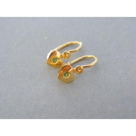 Náušnice srdiečka zelený kamienok žlté zlato
