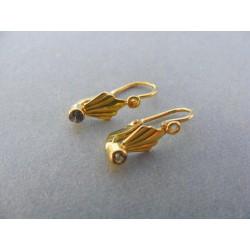 Zlaté detské náušnice žlté zlato kamienok vzorované DA115Z