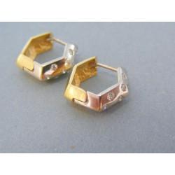 Zlaté dámske náušnice žlté biele zlato kamienky DA455V