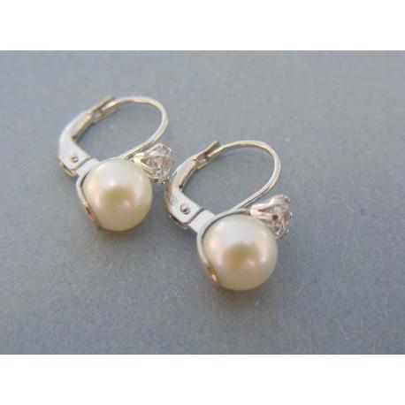 Elegantné dámske náušnice biele zlato perla zirkón