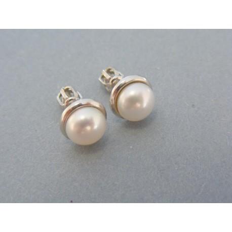 Náušnice šrubovačky biele zlato perla