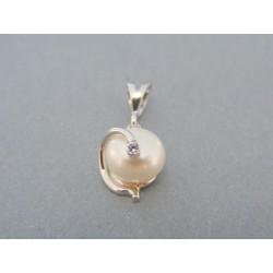 Prívesok perla biele zlato
