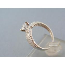Elegantný prsteň biele zlato zirkóniky