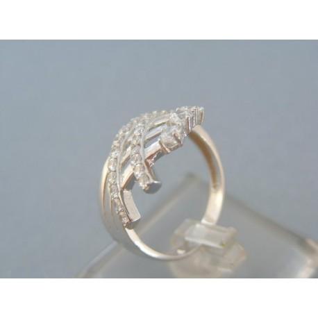 Moderný dámsky prsteň biele zlato vzorovaný