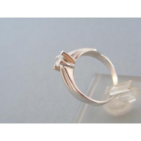 Jednoduchý dámsky prsteň biele zlato zirkón
