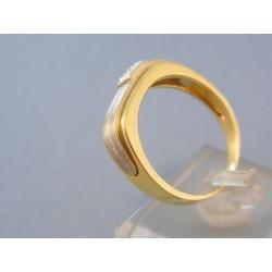 Pánsky prsteň biele žlté zlato zirkón