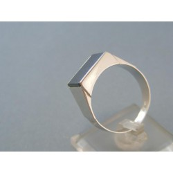 Prsteň pánsky biele zlato obdĺžnikovy onyx