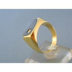 Pánsky prsteň žlté zlato čierný onyx zirkón