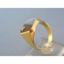 Zlatý pánsky prsteň žlté zlato čierný onyx malý zirkónik DP72744Z