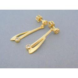 Visiace dámske náušnice žlté zlato zirkón šrubovačky