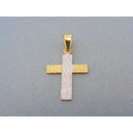 Prívesok krížik dvojfarebné zlato vzorovaný