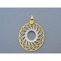 Vzorovaný okrúhly prívesok žlté biele zlato