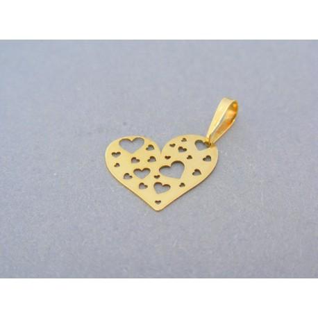 Zlatý prívesok srdiečko s malými srdiečkami žlté zlato