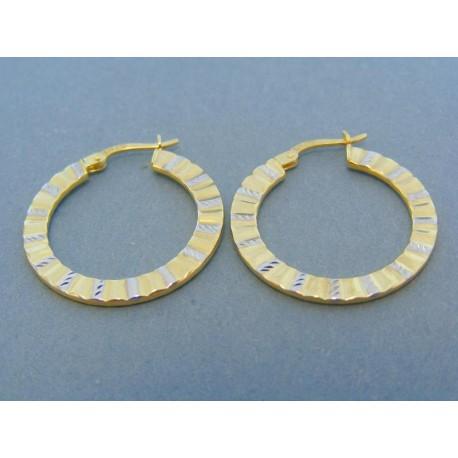 Náušnice kruhy žlté biele zlato vzorované