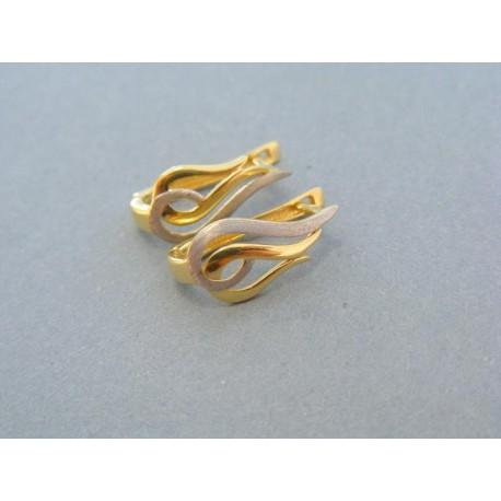 Dámske náušnice vzor háčik žlté biele zlato
