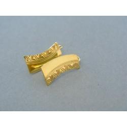 Vzorované dámske náušnice žlté zlato