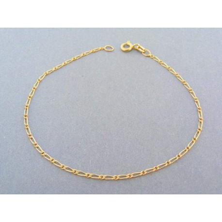 Zlatý náramok okrúhle očko s predĺženym sa strieda žlté zlato
