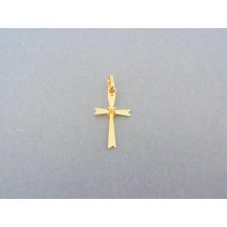 Jemný zlatý prívesok krížik žlté zlato