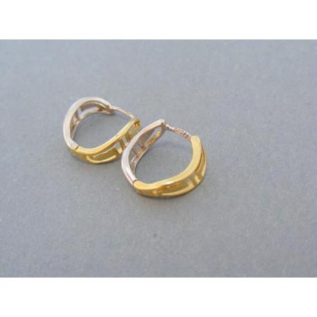 Tvarované náušnice žlté biele zlato kruhy