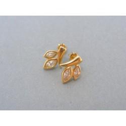 Zlaté náušnice žlté zlato zirkóny šrubovačky DA237Z