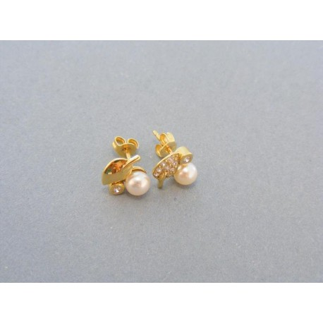Zlaté náušnice v žltom zlate zirkón perla