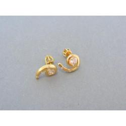 Zlaté náušnice šrubovačky žlté zlato zirkón zatočené DA287Z