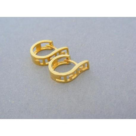 Dámske vzorované náušnice žlté zlato