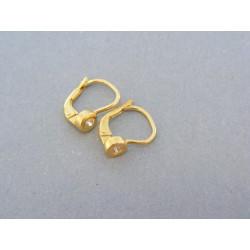 Zlaté náušnice v žltom zlate kamienok zirkónu