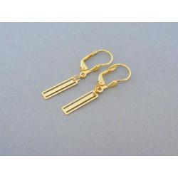 Zlaté dámske náušnice žlté zlato visiace obdĺžniky DA161Z
