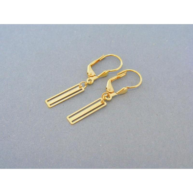 b016456fb Zlaté dámske náušnice žlté zlato visiace obdĺžniky