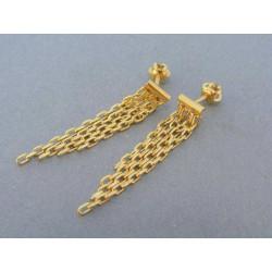 Zlaté dámske náušnice visiace žlté zlato vzor pílka DA397Z