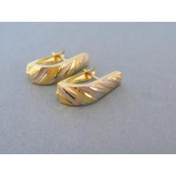Dámske zaoblené náušnice žlté biele zlato