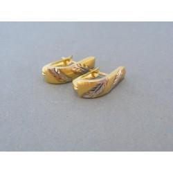 Zlaté dámske náušnice žlté biele zlato vzorované