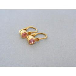 Zlaté detské náušnice žlté zlato ružový zirkón VA106Z