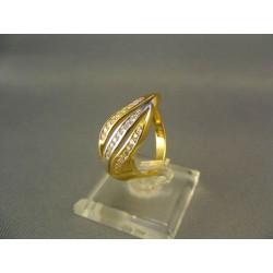 Zlatý dámsky prsteň s malými zirkónmi viacfarebné zlato VP58381/1V