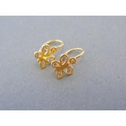 Zlaté náušnice motýliky žlté zlato zirkóny VA089Z