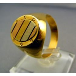 Pánsky prsteň z dvojfarebného zlata oválny tvar