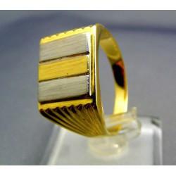 Zlatý pánsky prsteň viacfarebné zlato hranatý tvar VP68678V