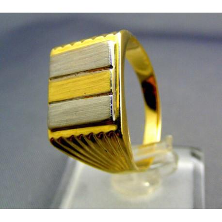 Pánsky prsteň viacfarebné zlato hranatý tvar