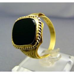 Zlatý pánsky prsteň žlté zlato s čiernym kameňom VP67658