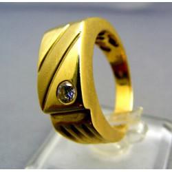 Zlatý pánsky prsteň so zirkónom žlté zlato VP59836Z