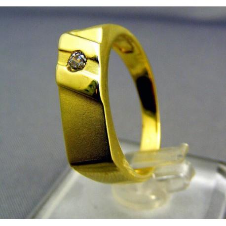 Pánsky zlaý prsteň so zirkónom